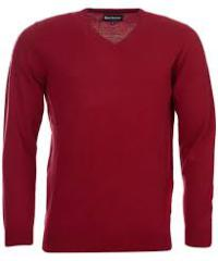 Barbour Essential Lambswool V Neck - Biking Red